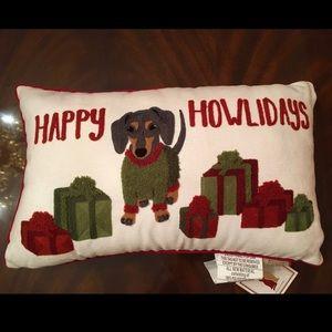 Dachshund Happy Howlidays Christmas Pillow NWT